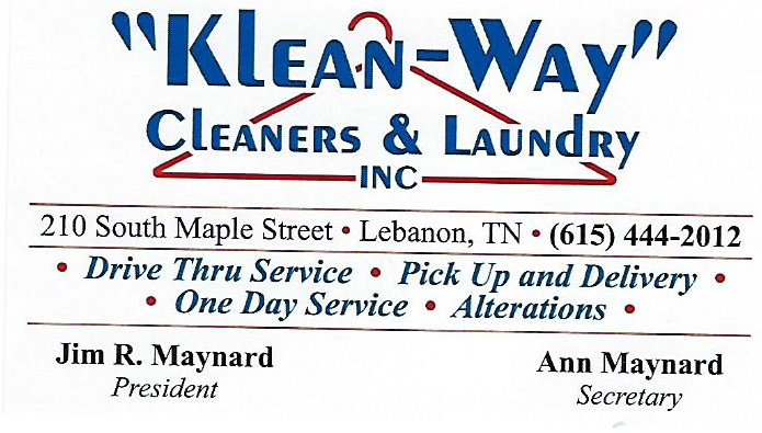 Klean Way Cleaners business card